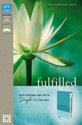 Fulfilled: The NIV Devotional Bible for the Single Woman, Italian Duo-Tone, Caribbean Blue/Turquoise  -
