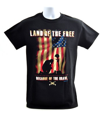 Land of the Free Because of the Brave Shirt, Black, XXX-Large  -