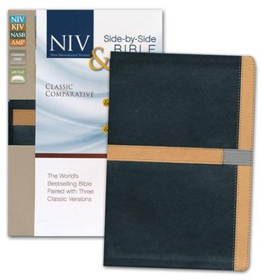 Classic Comparative Side-by-Side Bible: NIV KJV NASB Amplified: The World's Bestselling Bible Paired with Three Classic Versions, Italian Duo-Tone, Black/Camel  -