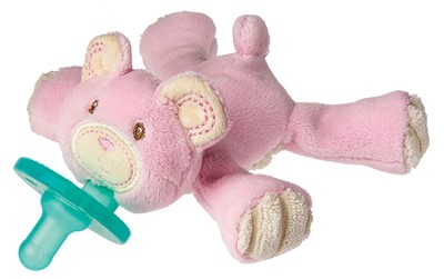 Thready Teddy Pink WubbaNub &#174 Pacifier Holder   -