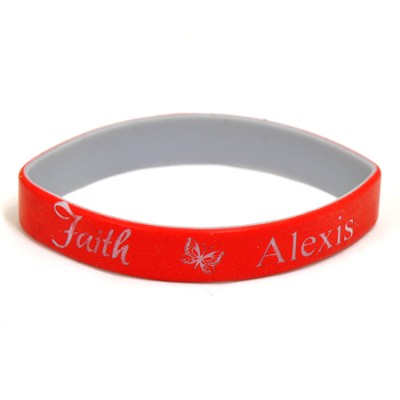 Personalized, Faith Wristband, With Name and Butterfly, Red  -