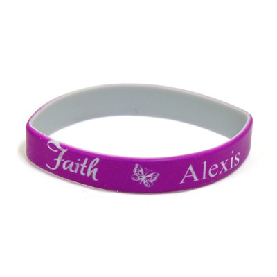 Personalized, Faith Wristband, With Name and Butterfly, Purple  -