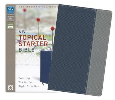 NIV Topical Starter Bible, Italian Duo-Tone, Slate     Blue/Gray  -