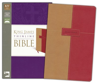 King James Version Thinline Bible, Italian Duo-Tone, Dark Camel/Rich Red  -     By: Zondervan