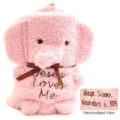 Personalized, Jesus Loves Me Elephant Blanket   -