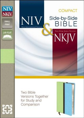 NIV and NKJV Side-by-Side Bible, Compact: Two Bible Versions Together for Study and Comparison, Italian Duo-Tone, Melon Green/Turquoise  -