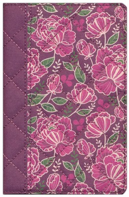 NIV Quilted Collection Bible, Compact, Flexcover, Burgundy Floral  -