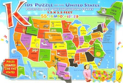 Kids' Puzzle of the United States (55 Jumbo Pieces)   -
