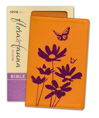 NIV Flora and Fauna Collection Bible, Compact, Italian Duo-Tone, Tangerine/Magenta Flowers  -