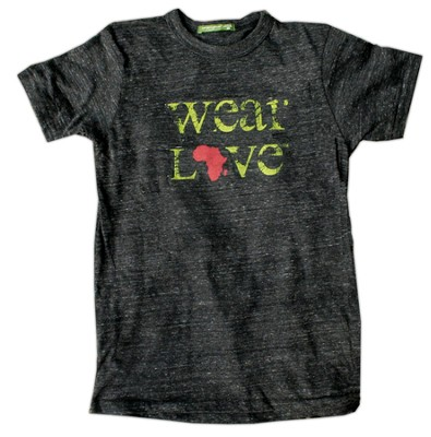 Wear Love Africa Shirt, Crew Neck, Eco Black, Medium   -