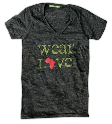 Wear Love Africa Shirt, V Neck, Eco Black, Small   -