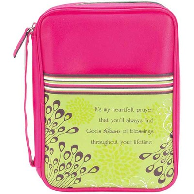 It's My Heartfelt Prayer Bible Cover, Pink and Lime Green, Large  -