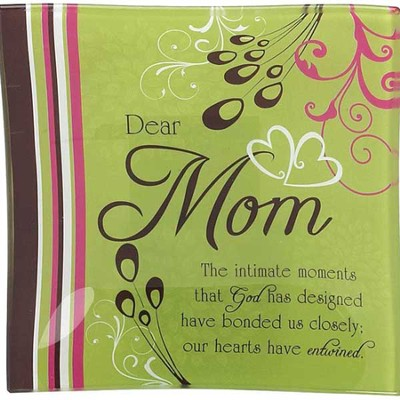 Dear Mom Glass Trinket Tray  -