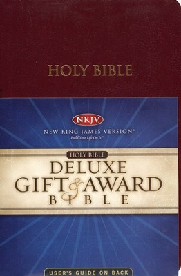 NKJV Gift & Award Bible, Imitation leather, Burgundy   -
