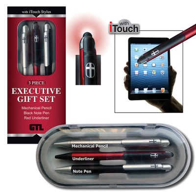 Executive Gift Boxed Pen Set, Black, Red  -