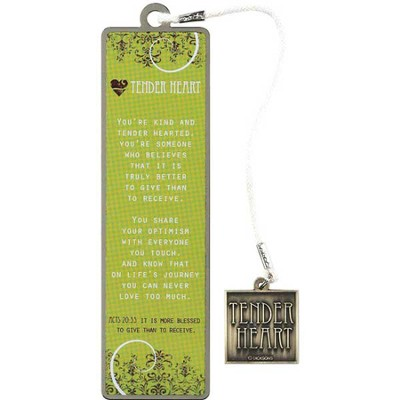 Tender Heart Metal Bookmark with Dangle  -