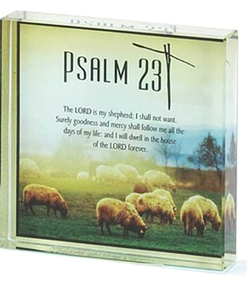 Psalm 23 Glass Block Plaque  -