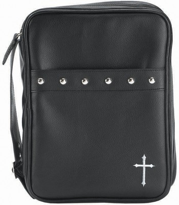 Cross and Studs Bible Cover, Black, Medium  -