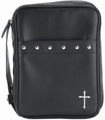 Cross and Studs Bible Cover, Black, Large  -
