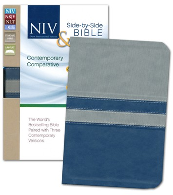 Contemporary Comparative Side-by-Side Bible: NIV NKJV NLT The Message: The World's Bestselling Bible Paired with Three Contemporary Versions, Italian Duo-Tone, Gray/Slate Blue  -