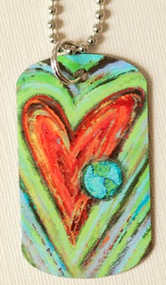 Dog Tag, Heart with Globe, John 3:16   -