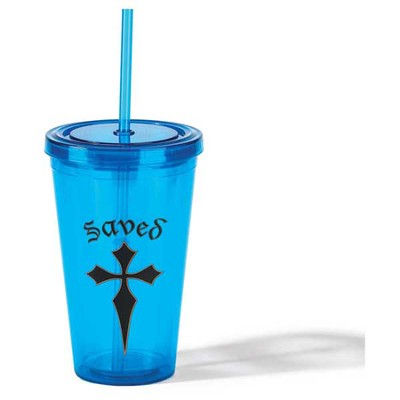 Saved Tumbler with Straw, Blue  -