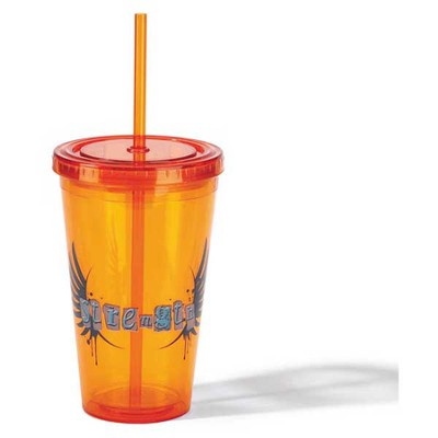 Strength Tumbler with Straw, Orange  -