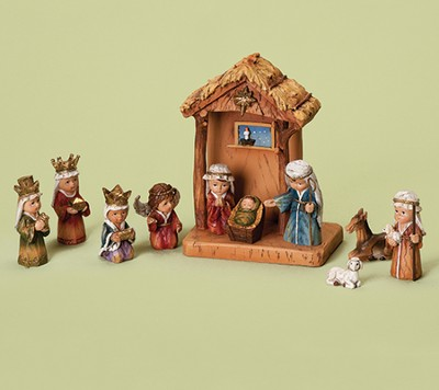 Thatched Roof Nativity Set, 11 pieces   -
