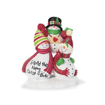 Snowmen Figurine, Spread the News, Christ is Born  -
