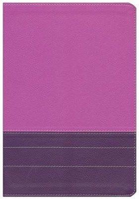 NIV Life Application Study Bible, Large Print, Italian Duo-Tone, Dark Orchid/Plum, Indexed  -