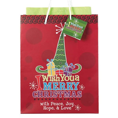 I Wish You a Merry Christmas Gift Bag, Medium  -