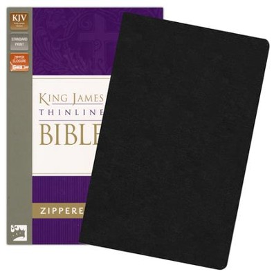 King James Version Thinline Zippered Collection Bible, Bonded Leather, Black  -     By: Zondervan