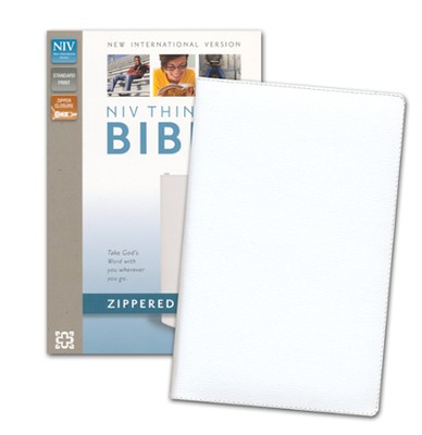 NIV Thinline Zippered Collection Bible, White - Imperfectly Imprinted Bibles  -     By: Zondervan