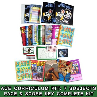 ACE Comprehensive Curriculum (7 Subjects), Single Student Complete PACE & Score Key Kit, Grade 1, 3rd Edition (with 4th Edition Science & Social Studies)  -