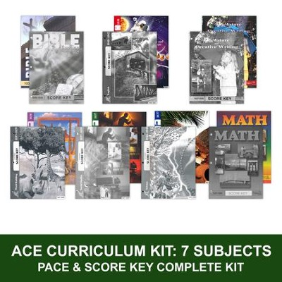 ACE Comprehensive Curriculum (7 Subjects), Single Student Complete PACE & Score Key Kit, Grade 4, 3rd Edition (with 4th Edition Science & Social Studies)  -