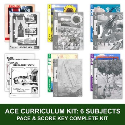 ACE Comprehensive Curriculum (6 Subjects), Single Student Complete PACE & Score Keys Kit, Grade 7, 3rd Edition (with 4th Edition Math & Social Studies)  -