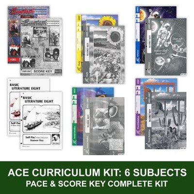 ACE Comprehensive Curriculum (6 Subjects), Single Student Complete PACE & Score Keys Kit, Grade 8, 3rd Edition (with 4th Edition Math)  -