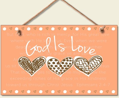 God Is Love Wood Sign  -