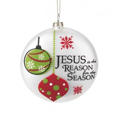 Jesus is the Reason for the Season Ornament, White  -