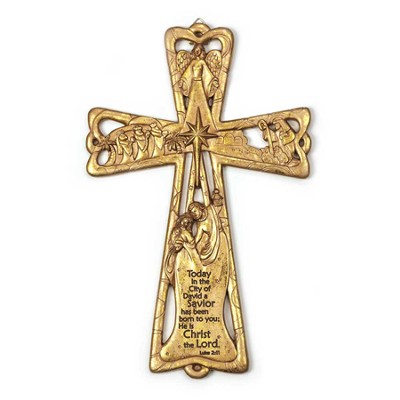 Nativity Wall Cross, Today in the City of David, Gold  -
