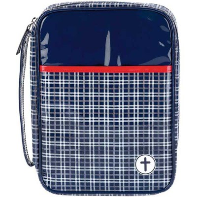 Plaid Bible Cover, Navy and Red, Medium  -