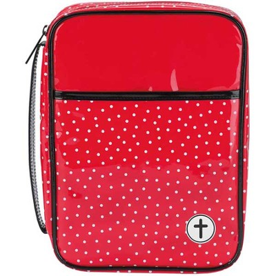 Polka Dot Bible Cover, Red and Black, Large    -