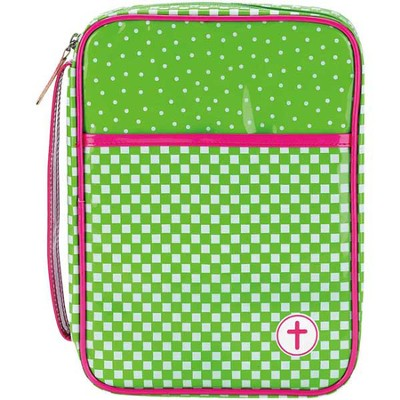 Checkered Bible Cover, Green and Pink, Large  -