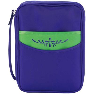 Embroidered Cross Bible Cover, Purple and Green, Medium  -