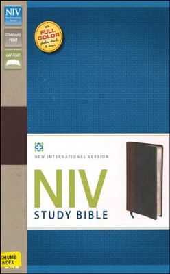 NIV Study Bible, Soft Leather-Look, Chocolate/Black with Thumb Index - Imperfectly Imprinted Bibles  -
