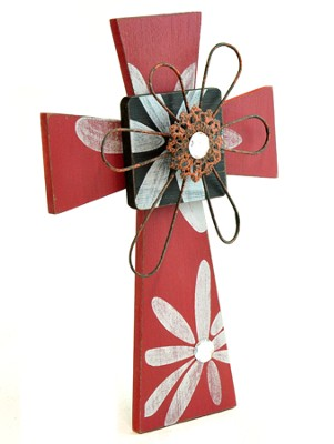 Wall Cross with Metal Flower, Red  -