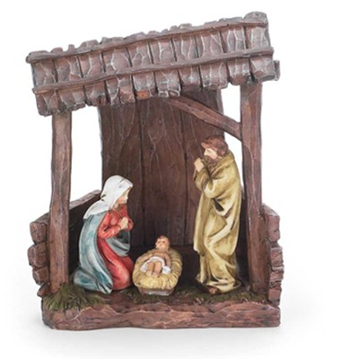 Holy Family in Creche Figurine with Light  -