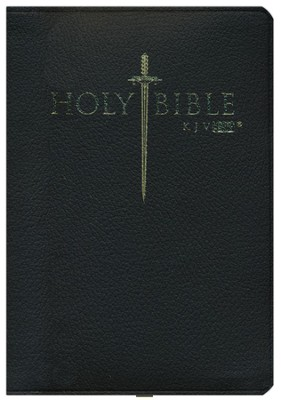 KJV Easy Reader Sword Bible, Personal Size, Genuine  Leather, Black, Indexed  -