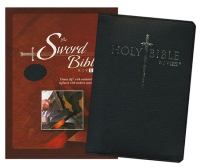 KJV Easy Reader Sword Bible, Personal Size, Genuine  Leather, Black   -
