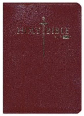 KJV Easy Reader Sword Bible, Personal Size, Genuine  Leather, Burgundy, Indexed  -